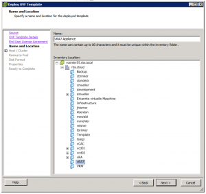 Deploy OVF Template VM Name And Location